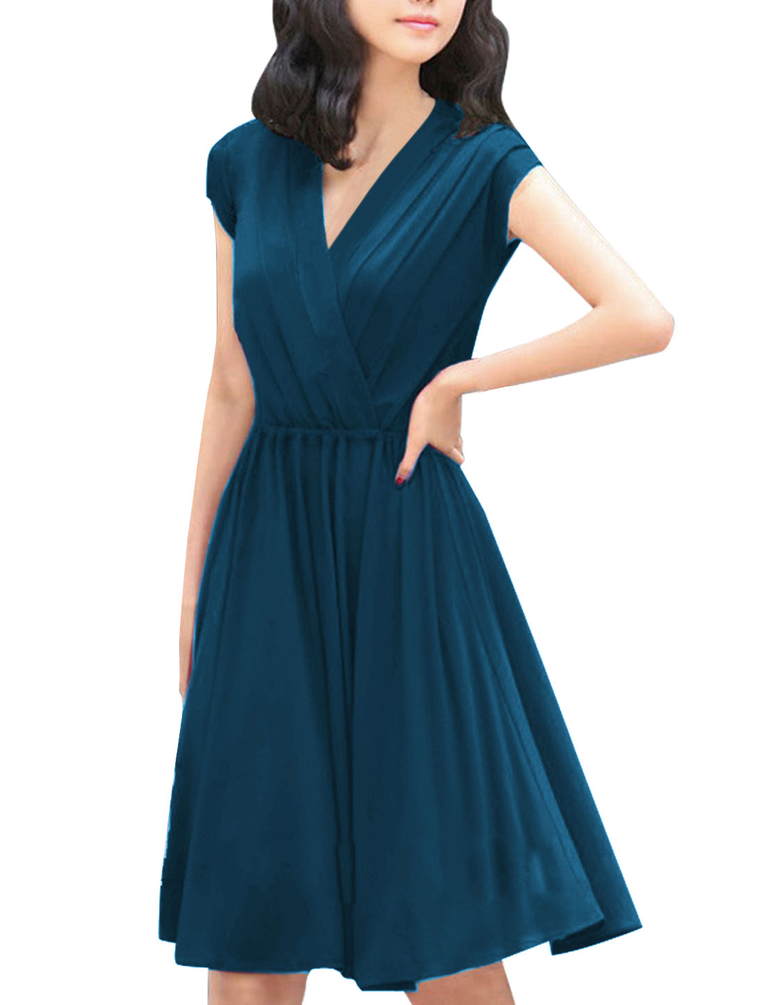 Woman Crossover Deep V Neck Dark Blue Stretchy Dress S