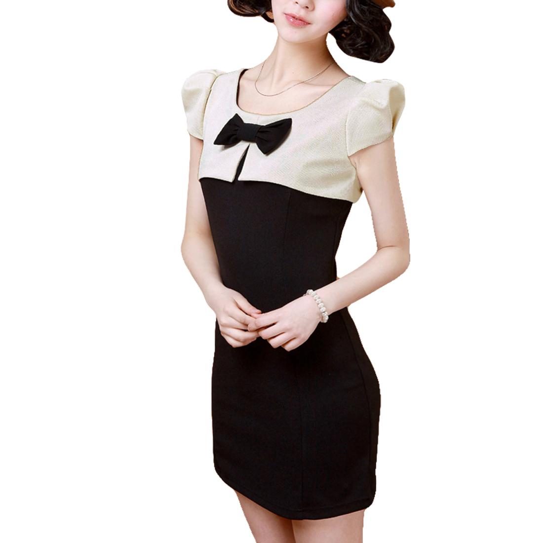 Women Cap Sleeves Contrast Color Bodycon Dress Beige Black S