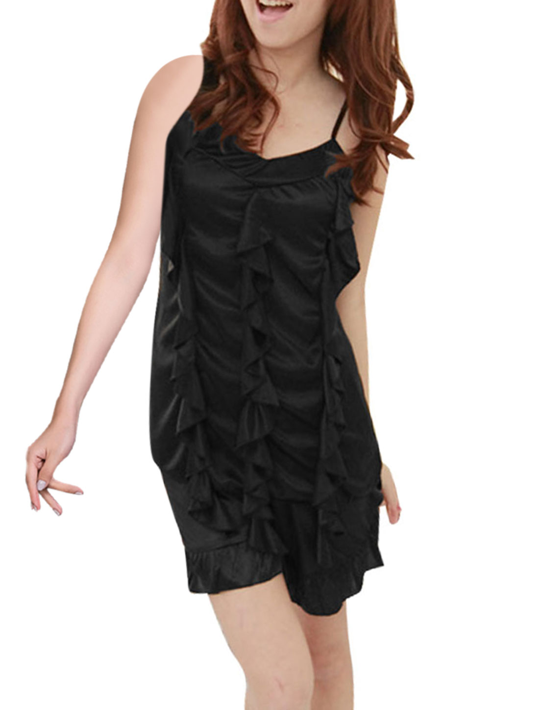 Lady Black Spaghetti Strap Flouncing V Neck Cami Sleepwear Set XS