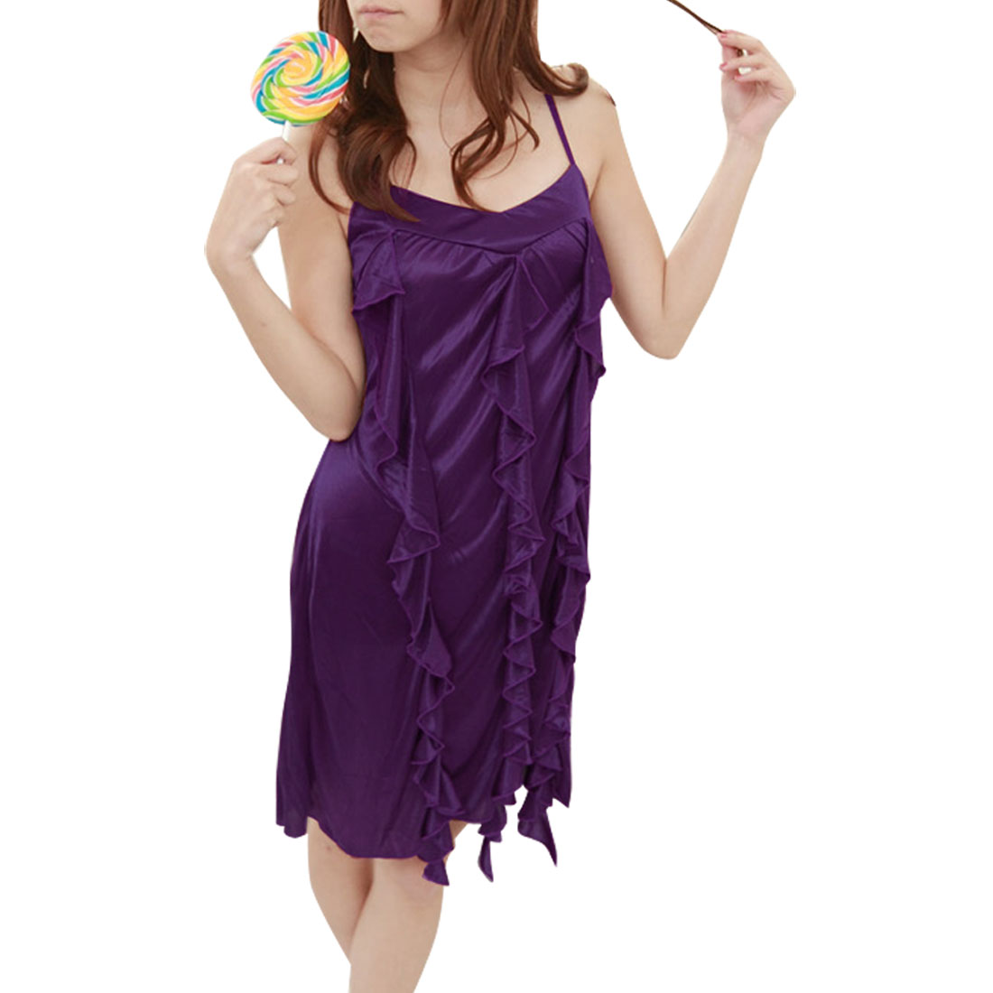 Ladies Flounce Front Spaghetti Strap Stretchy Babydoll Sleepwear Purple XS