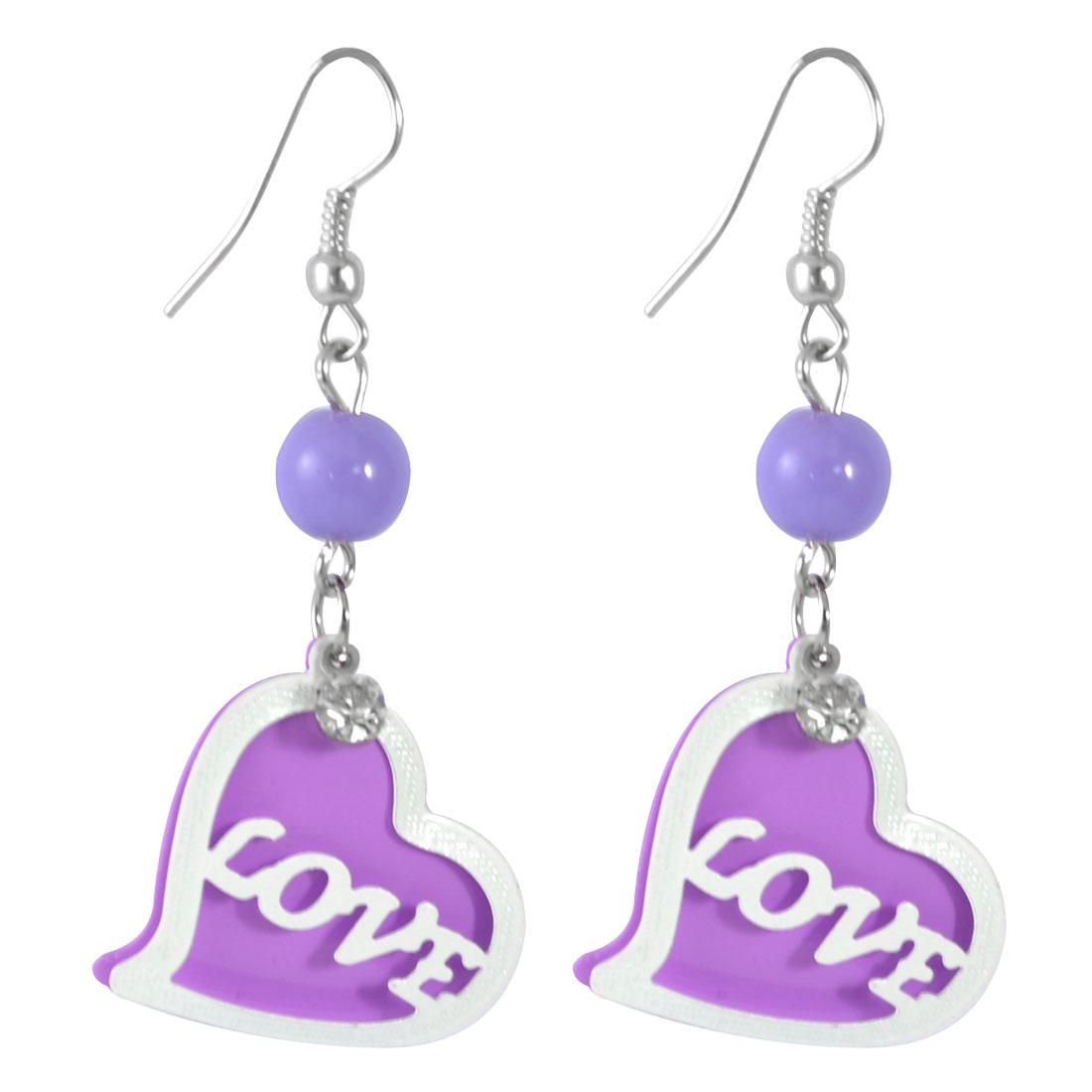 Woman Rhinestone Accent Purple White Heart Pendant Hook Earrings