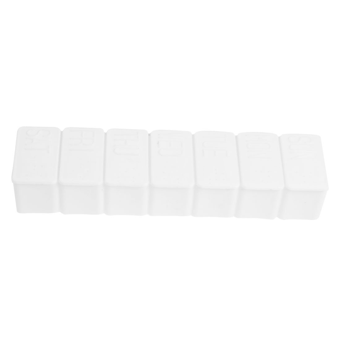White Rectangle Hard Plastic Weekly 7 Day Medicine Organizer Case Pill Box