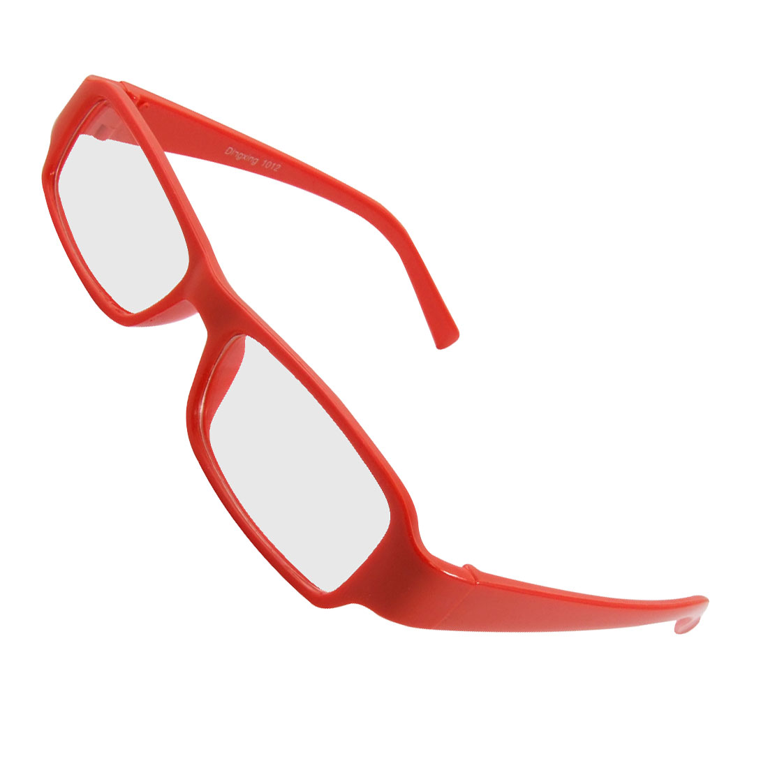 Unisex Plastic Frame Arms Rectangle Clear Lens Plano Glasses Red