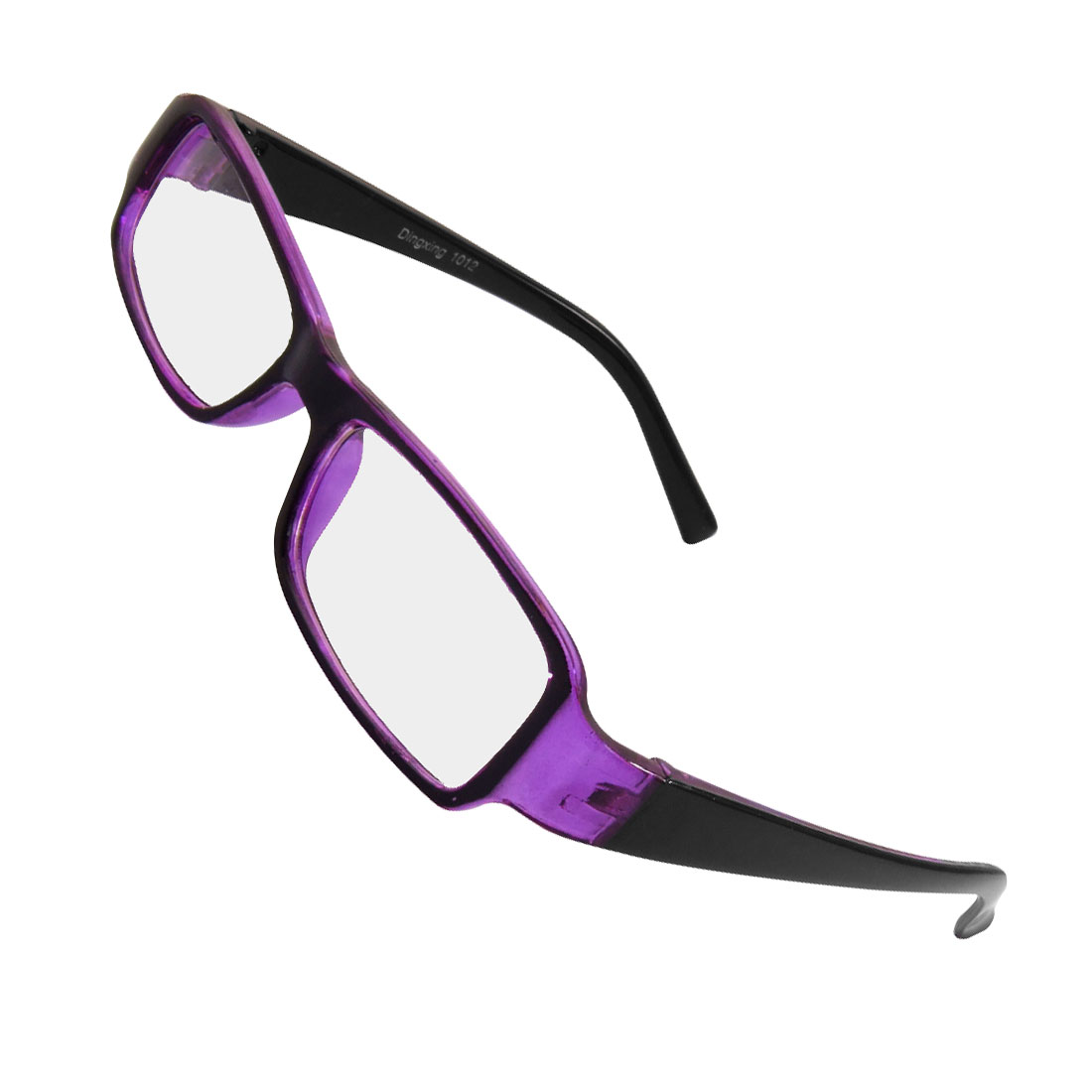 Unisex Plastic Frame Black Purple Arms Clear Rectangle Lens Plain Glasses