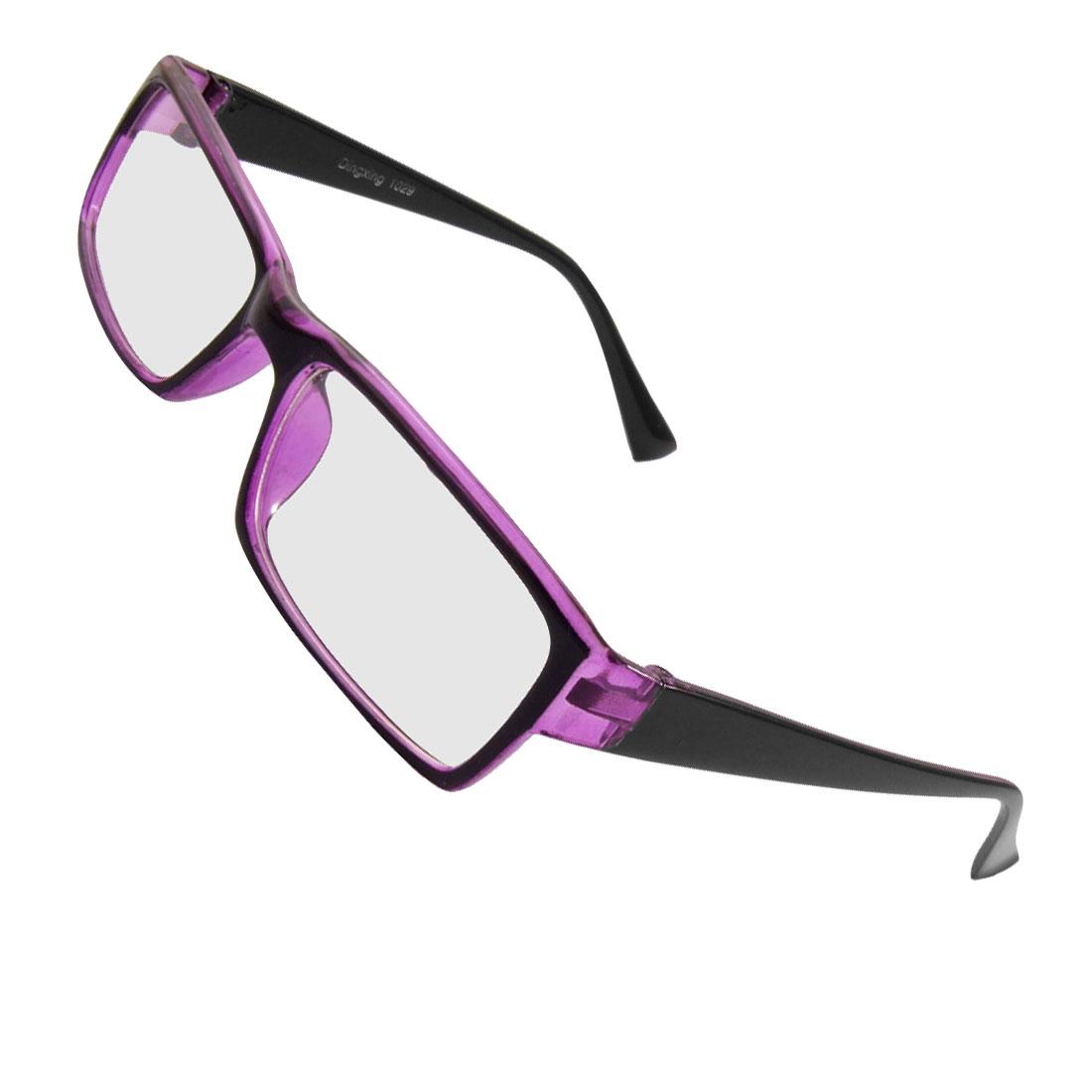Unisex Plastic Full Frame Clear Rectangle Lens Plain Glasses Black Purple