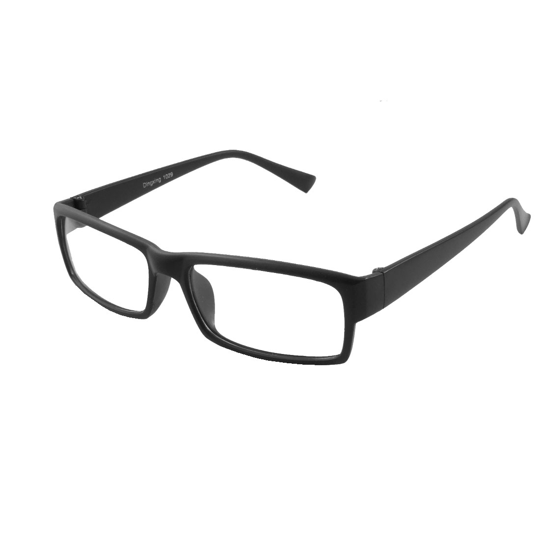 Unisex Plastic Full Frame Arms Rectangle Lens Plain Glasses Glossy Black