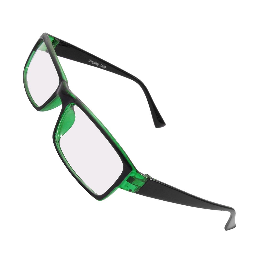 Unisex Full Frame Black Green Arms Clear Rectangle Lens Plain Glasses