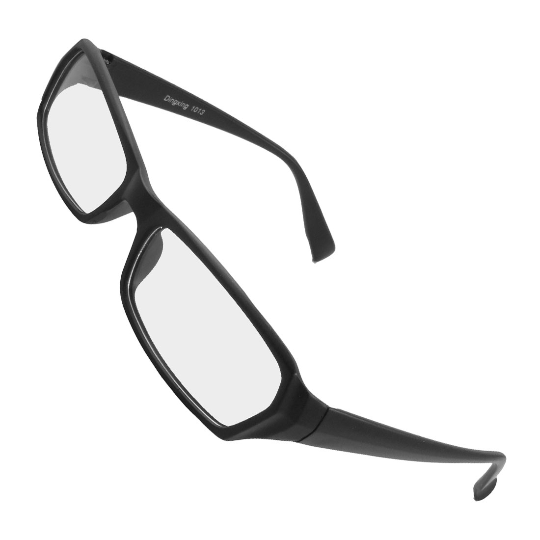Unisex Plastic Frame Arms Clear Rectangle Lens Plano Glasses Black