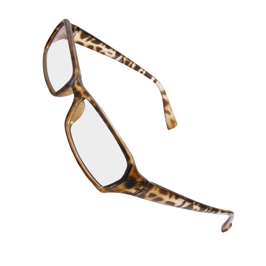 Men Women Leopard Pattern Plastic Frame Arms Plain Glasses