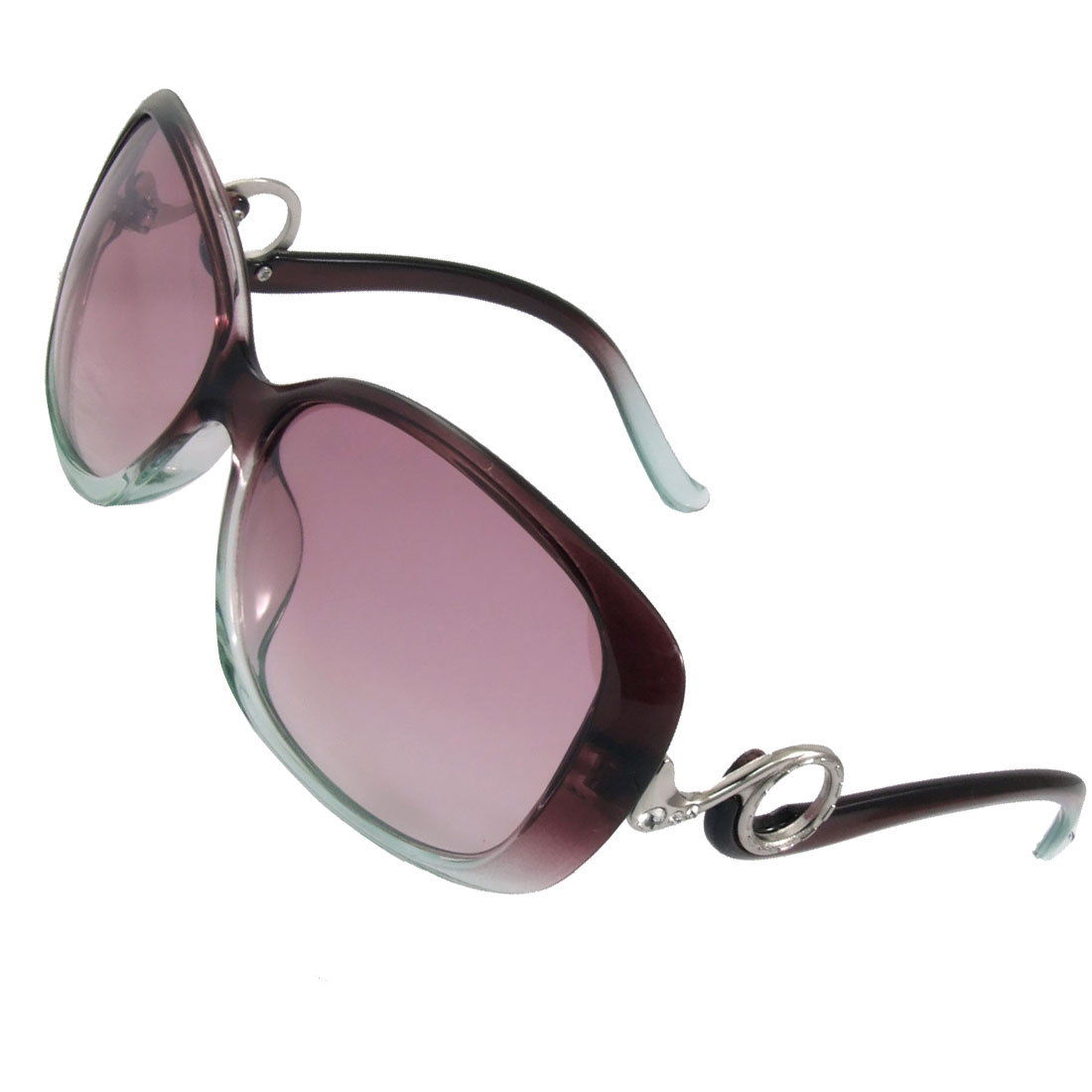 Rhinestone Inlaid Full Frame Plastic Arms Sunglasses for Women
