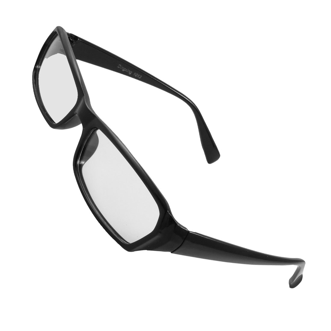 Unisex Black Full Frame Arms Clear Rectangle Lens Plain Glasses