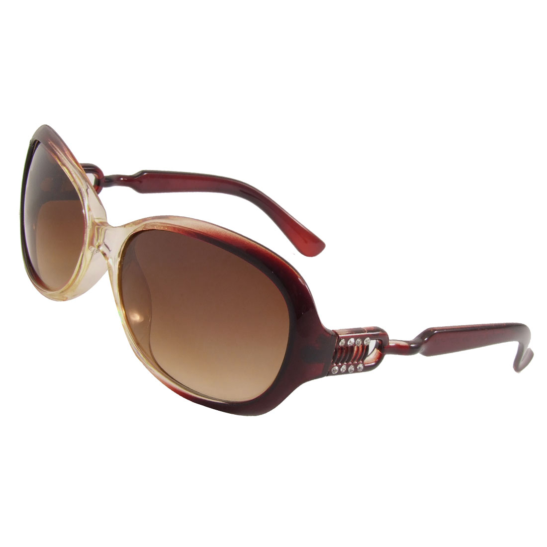 Women Full Frame Rhinestone Inlaid Arms Colored Lens Sunglasses Brown