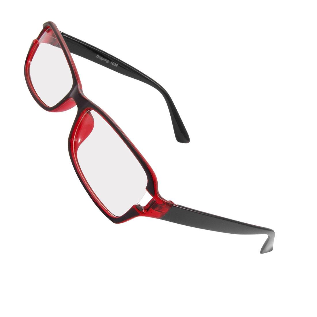 Men Women Plastic Frame Arms Rectangle Lens Plain Glasses Black Burgundy