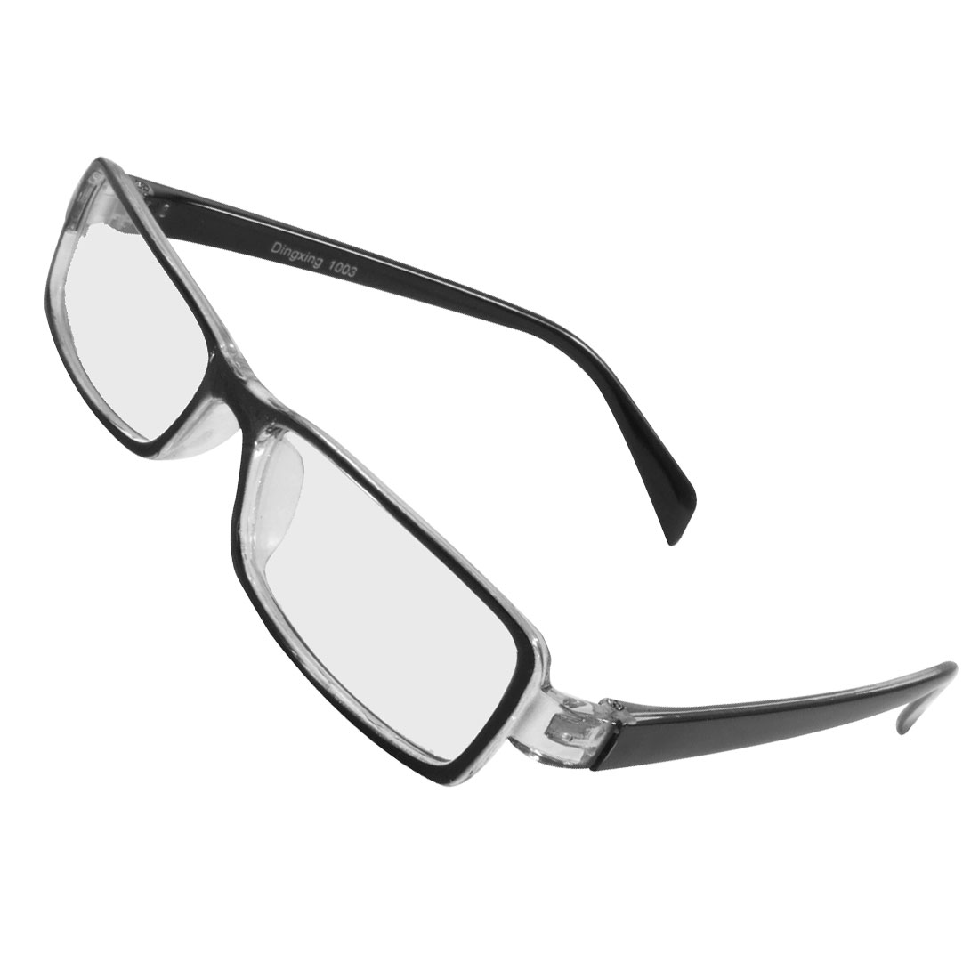 Women Men Plastic Frame Arms Rectangle Lens Plain Glasses Black Clear