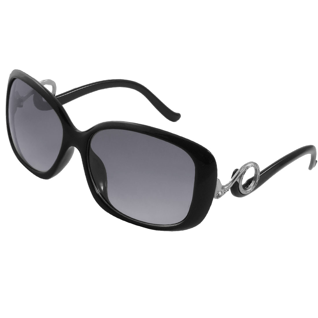 Women Rhinestone Decor Colored Lens Plastic Sunglasses Black