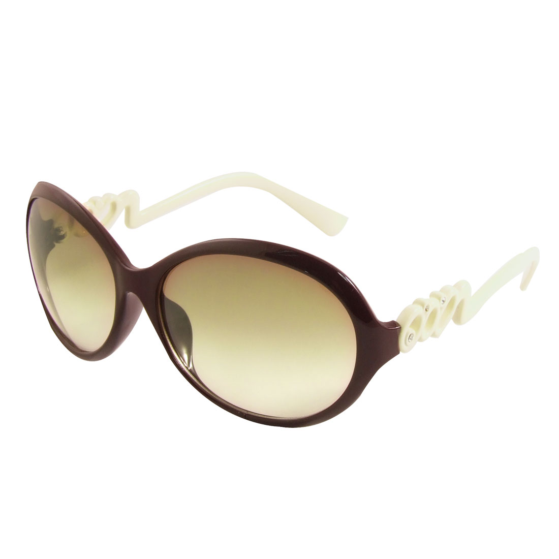 Women Dark Brown Full Frame Ivory Arms Colored Lens Sunglasses