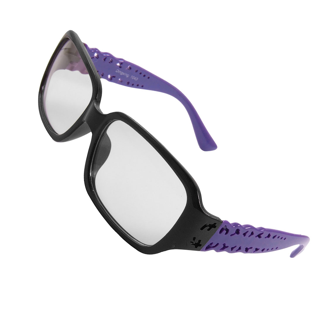 Black Full Frame Purple Arms Plain Plano Glasses for Women