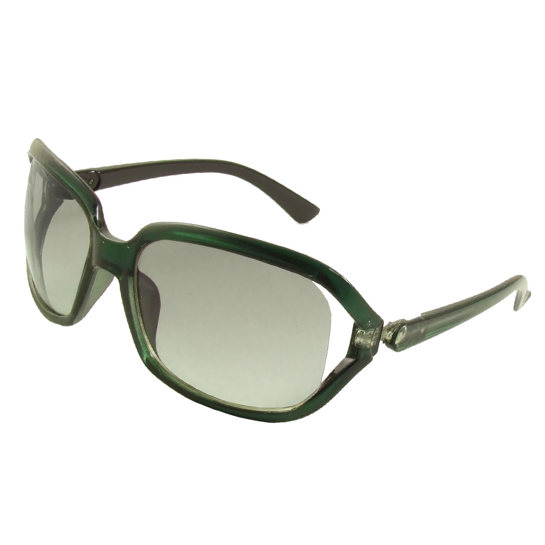 Plastic Arms Clear Green Black Frame Colored Lens Sunglasses for Men