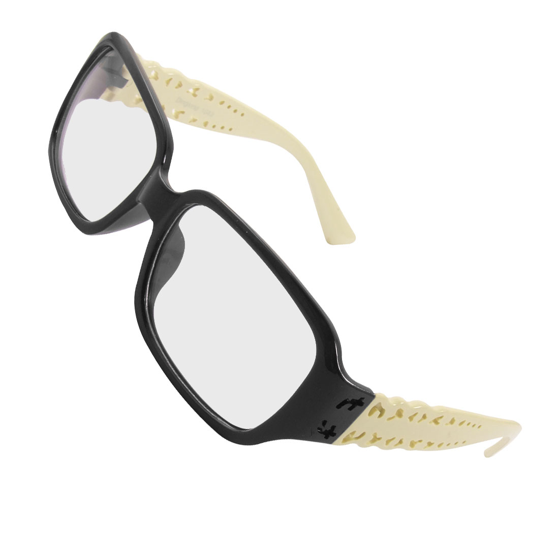 Women Plastic Black Frame Beige Arms Rectangle Clear Lens Glasses