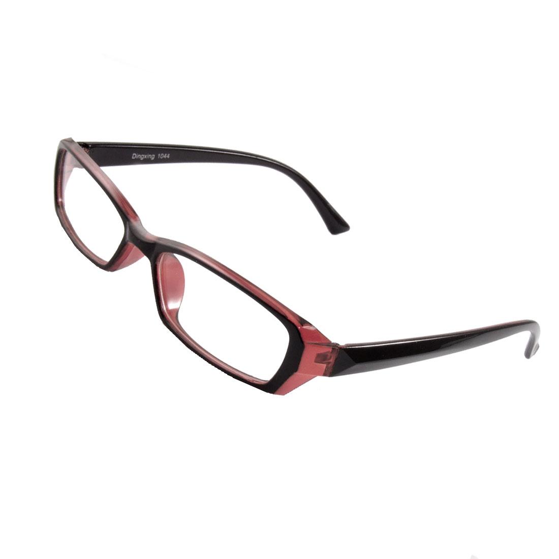 Unisex Black Burgundy Plastic Frame Arms Clear Lens Plain Glasses