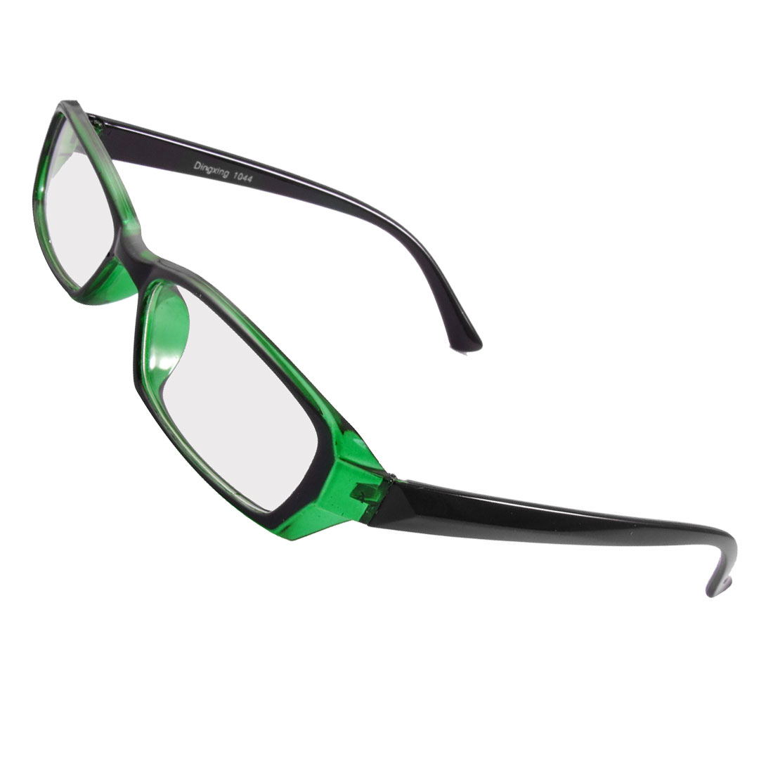 Men Women Plastic Frame Black Green Arms Rectangle Lens Plano Glasses