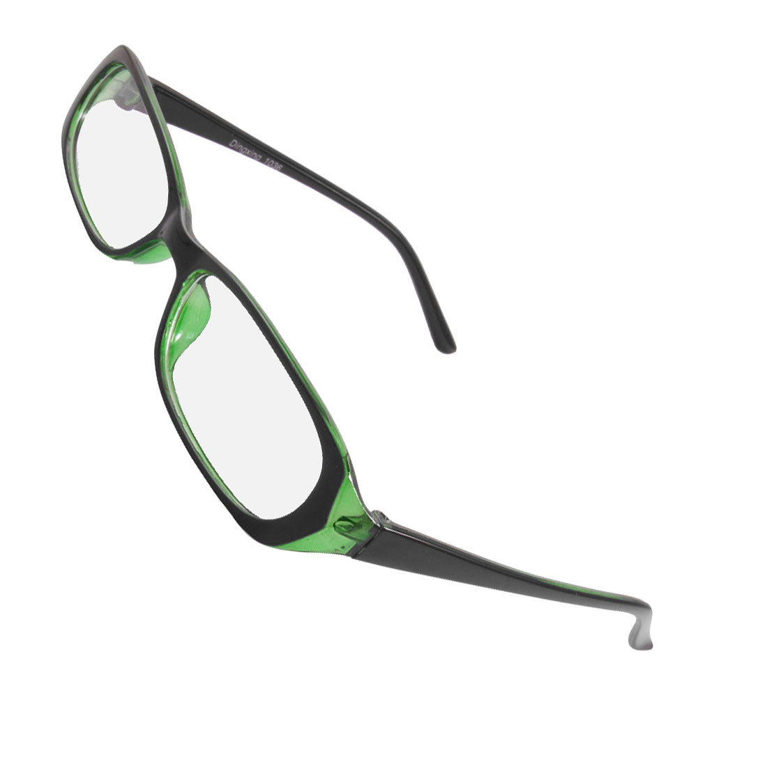Women Men Plastic Frame Arms Rectangle Lens Plano Glasses Black Green