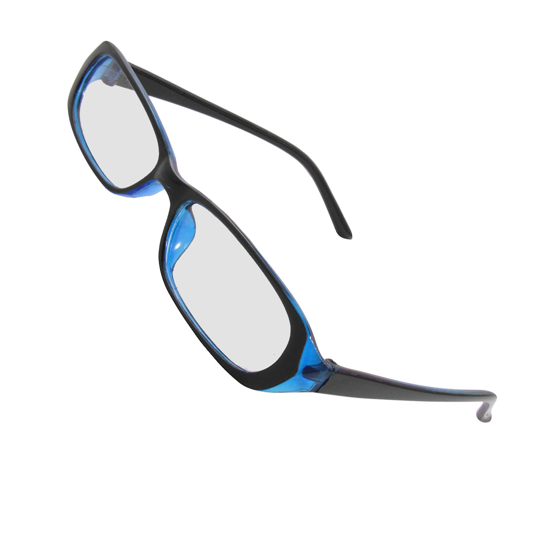 Women Men Black Blue Frame Plastic Arms Rectangle Lens Plano Glasses