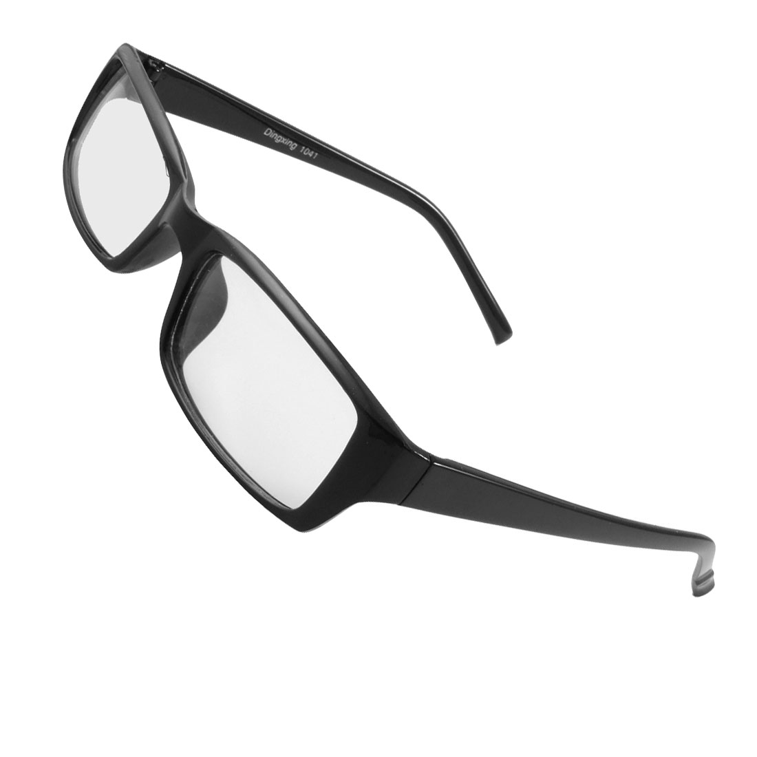 Women Men Black Frame Plastic Arms Rectangle Lens Plano Glasses