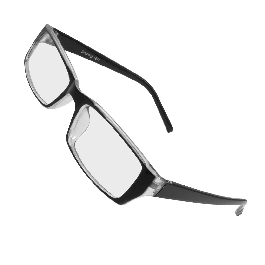 Women Men Plastic Rectangle Shaped Frame Lens Plain Glasses Black Clear
