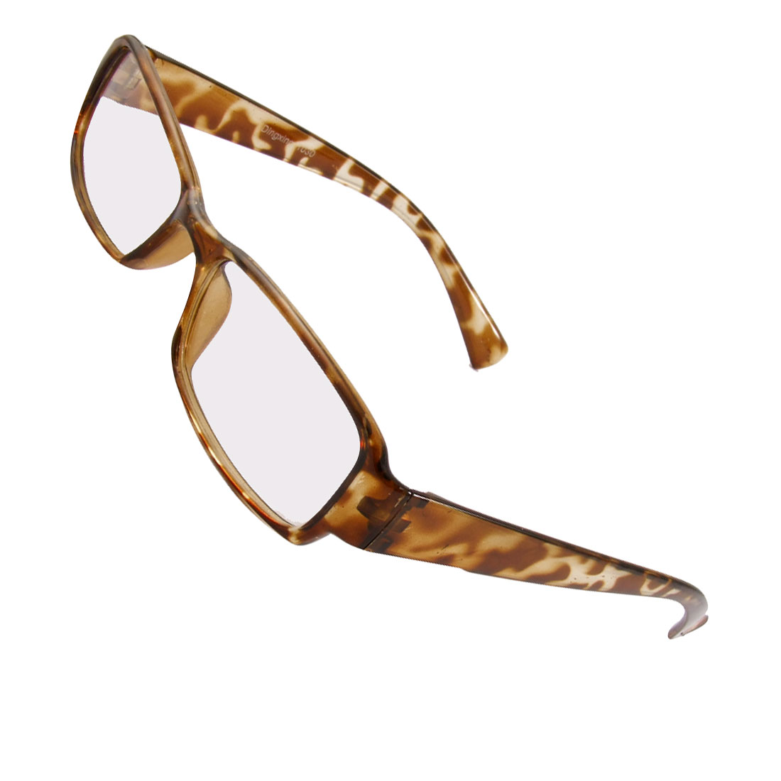 Men Women Leopard Pattern Full Frame Plastic Arms Clear Lens Glasses