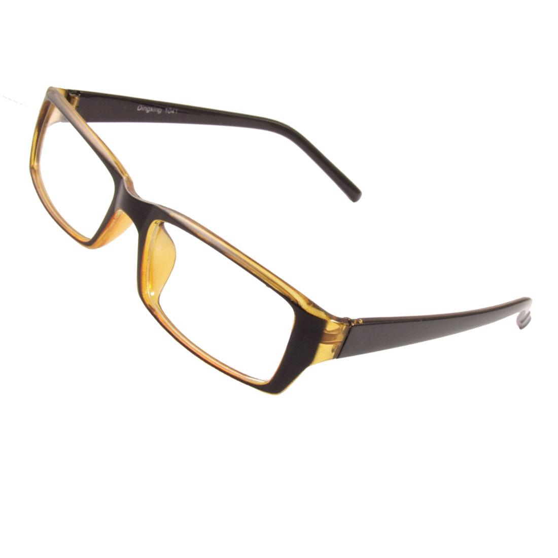 Women Men Black Brown Frame Arms Rectangle Lens Plastic Plain Glasses