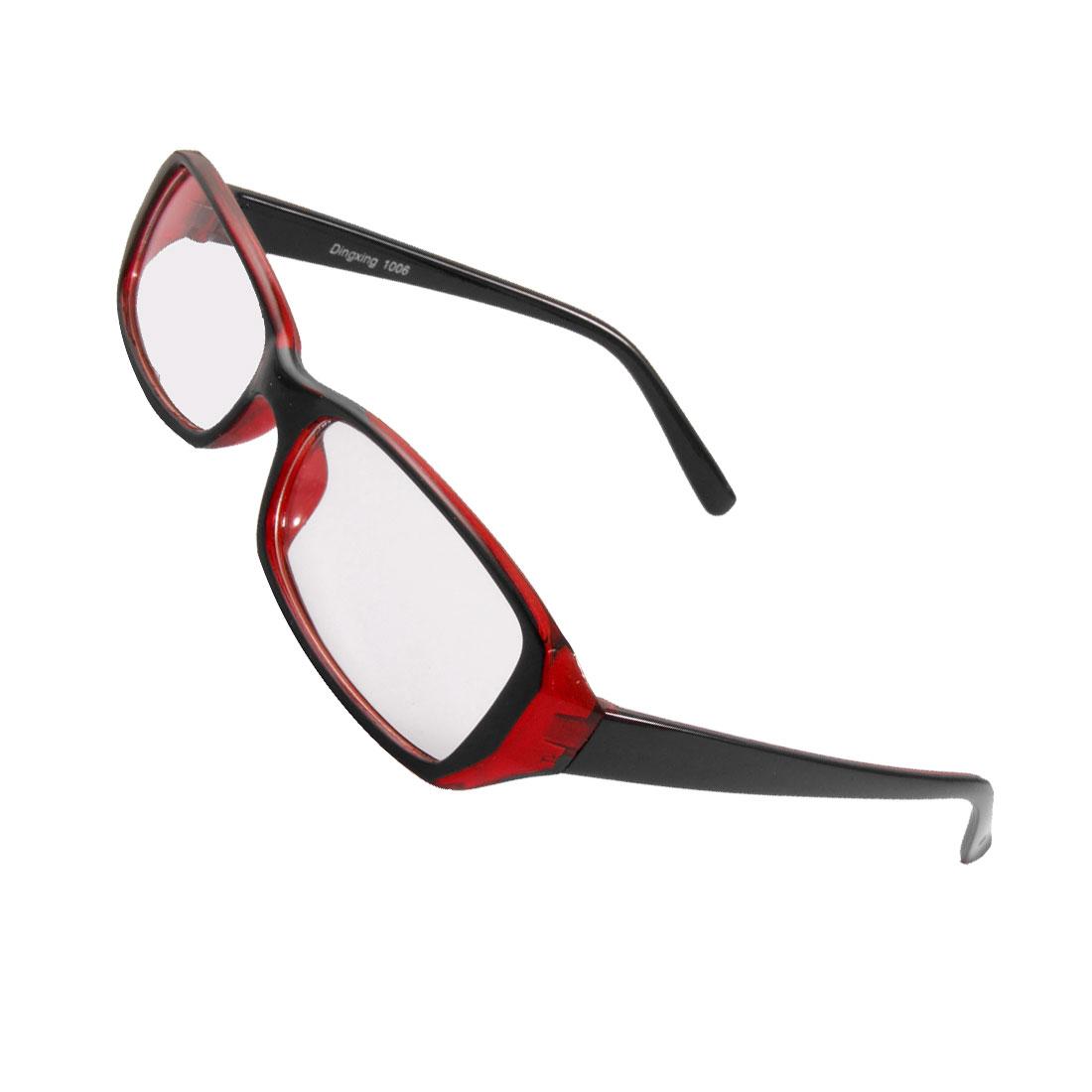Unisex Plastic Full Frame Clear Lens Plain Glasses Black Burgundy