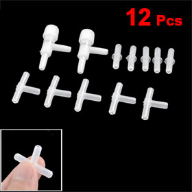 Aquarium White Plastic Air Valves Connectors Inline Tubing 12 Pcs