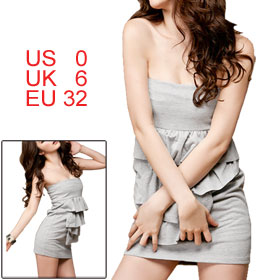 Woman Tiered Flouncing Front Light Gray Strapless Mini Dress XS