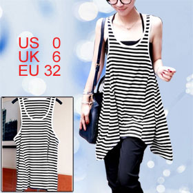Woman Scoop Neck Black White Stripes Irregular Hem Tank Shirt XS