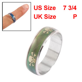 Ladies Skull Pattern Color Change Finger Mood Ring US 7 3/4