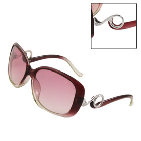 Women Rhinestone Inlaid Circle Plastic Frame Arms Sunglasses