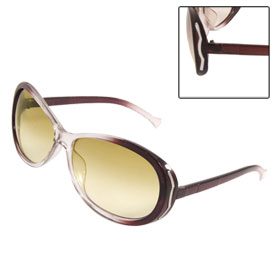 Burgundy Clear Arms Plastic Frame Colored Lens Sunglasses for Men