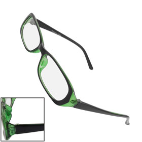 Women Men Plastic Frame Arms Rectangle Lens Plano Glasses Black Green