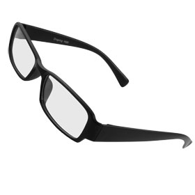 Unisex Full Frame Black Arms Rectangle Lens Plain Plano Glasses