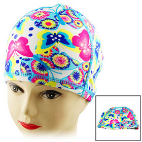 Colorful Butterfly Pattern Polyester Swimming Cap for Ladies