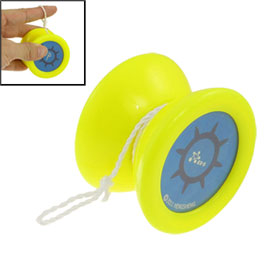 Yellow Plastic Wheel Blue Cover Rotating Yo-Yo Ball Toy for Child