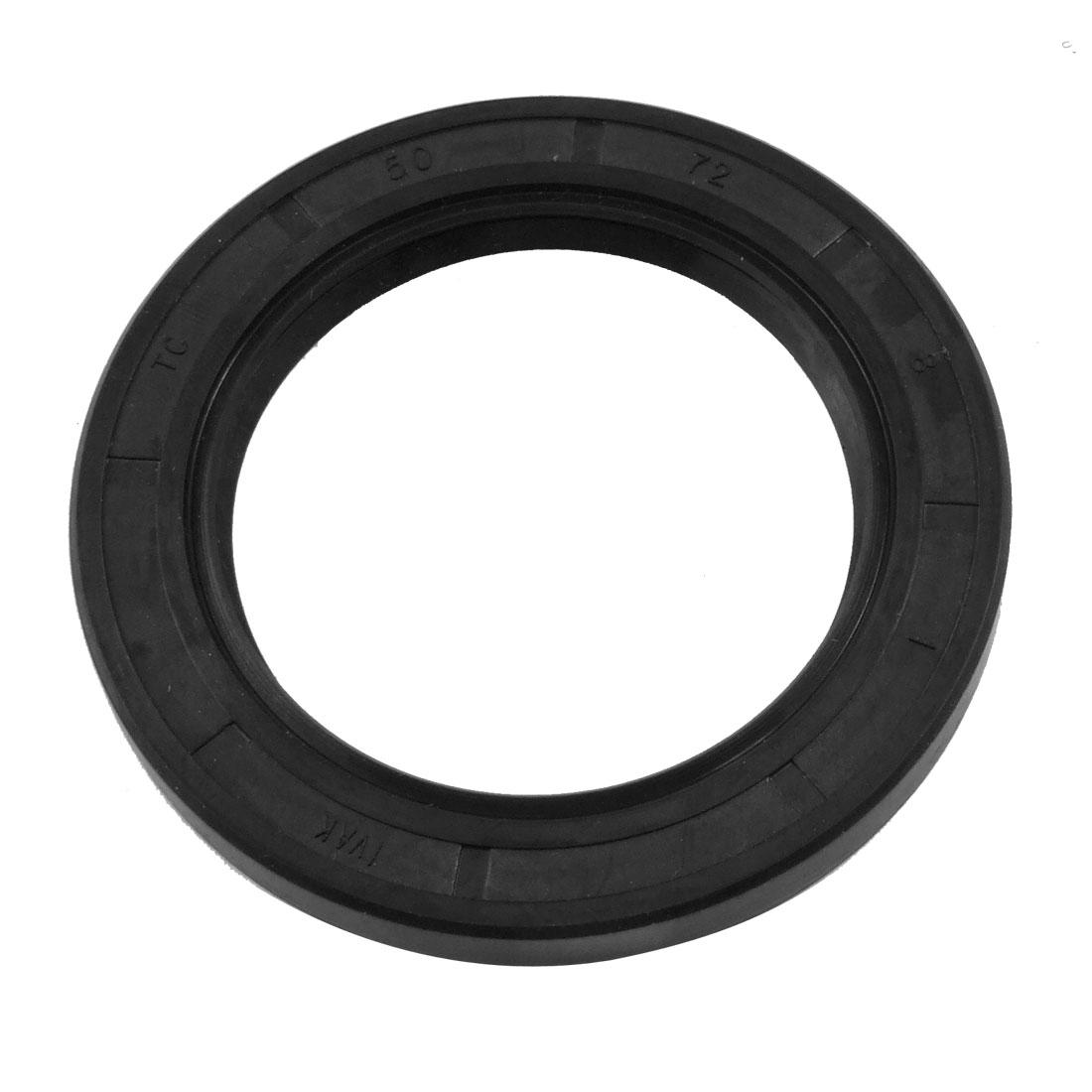 NBR TC 50mm x 72mm x 8mm Metal Spring Double Lip Oil Shaft Seal Black