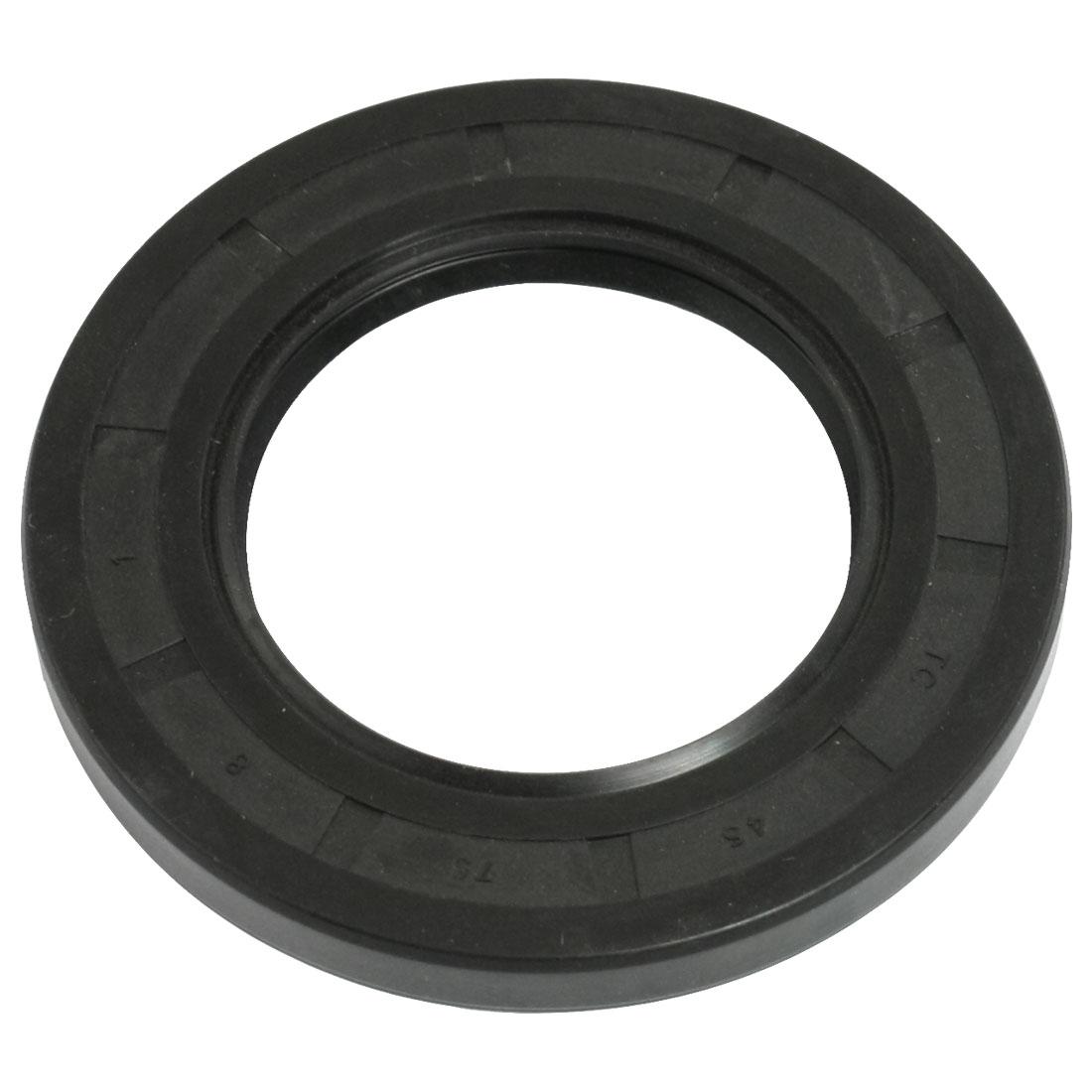 Black NBR Steel Spring Double Lip TC Oil Shaft Seal 45mm x 75mm x 8mm