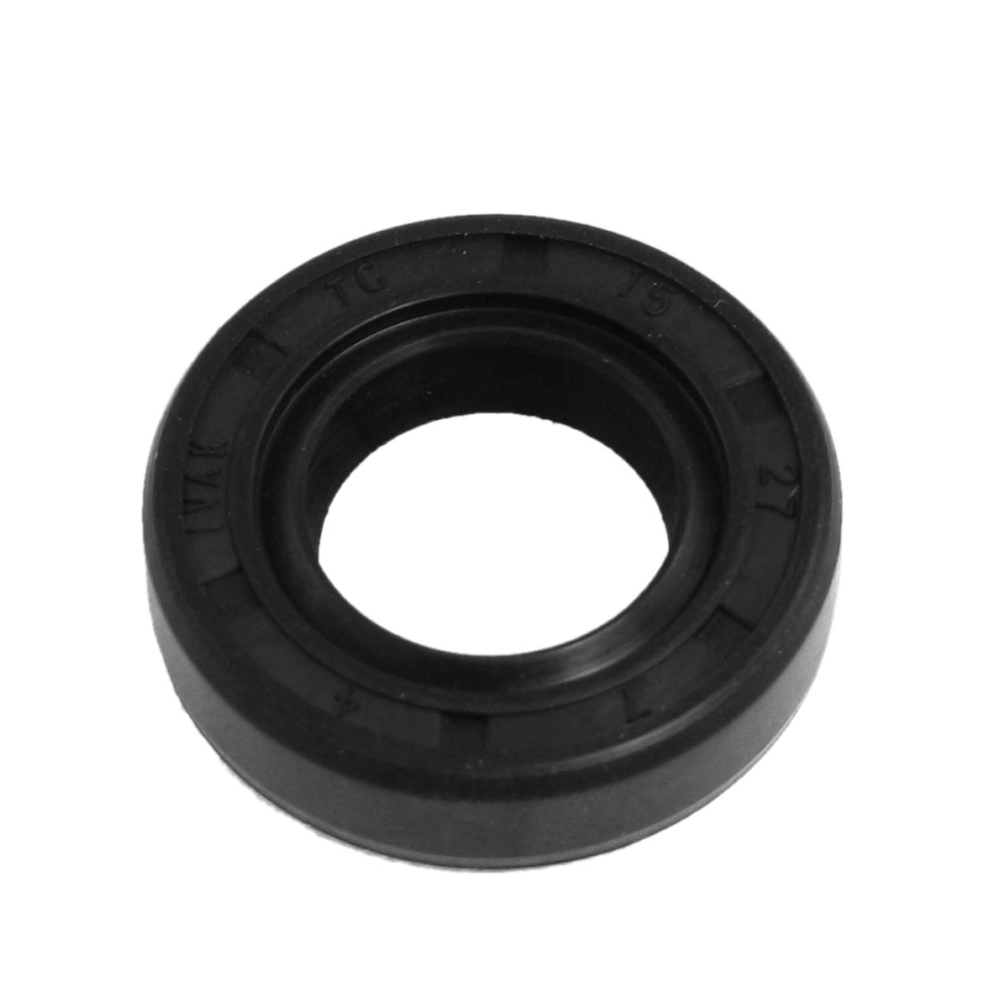 15mm x 27mm x 7mm Nitrile Rubber Double Lip TC Oil Shaft Seal Black