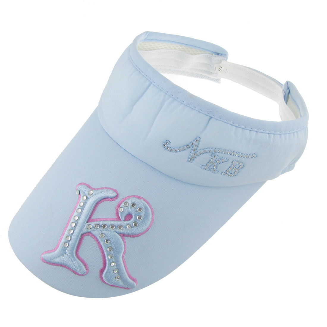 Letters Prints Top Openning Style Sun Visor Cap Hat Light Blue for Lady