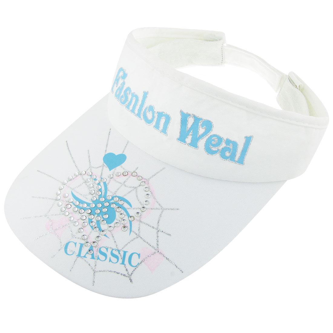 Rhinestone Detail Heart Pattern Mesh Lined Band Sun Visor Cap White Blue for Lady
