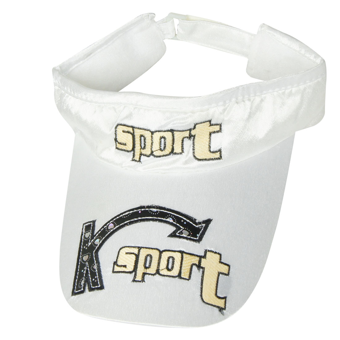 Sport Letters Adjustable Band Sun Visor Cap Hat White for Lady
