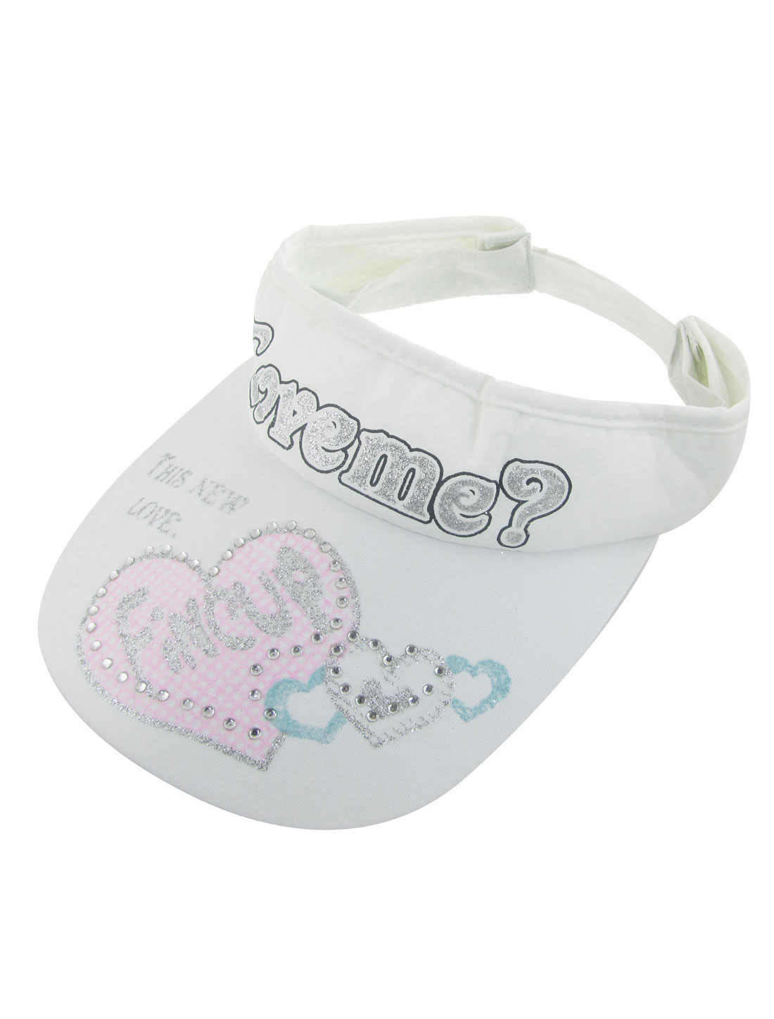 Hearts Prints Mesh Lined Band Adjustable Sun Visor Cap Hat White for Woman