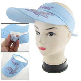 Lady Floral Print Soft Lined Band Sun Visor Cap Hat Light Blue